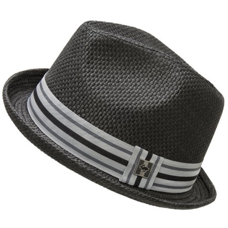 Peter Grimm Men's Black Paper Depp Classic Fedora Hat w/ Striped Brim Size (S/M)