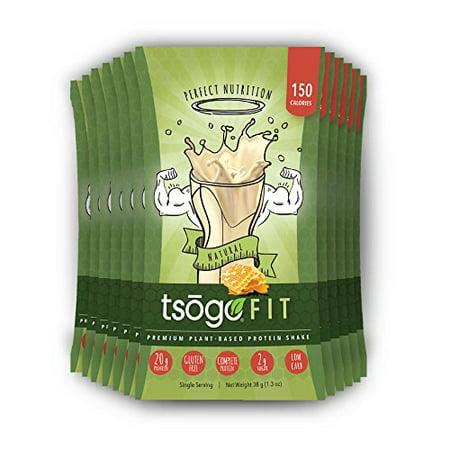 Tsogo Fit 12 Pack, saveur naturelle (miel), soja, sans gluten et sans produits laitiers, riche en fibres et protéines, Faible teneur en calories et glucides, substitut de repas Shake, seulement 150cal / SERV. (1-Box 12 Portions individuelle)