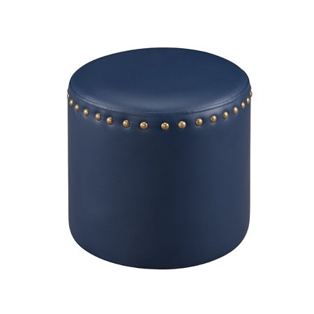 Andrea Blue Upholstered Faux Leather Transitional 15.5-Inch Square Nailhead Trim Ottoman Stool Bench - Nailhead Leather Collection