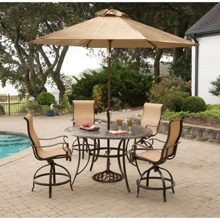 Hanover Manor 5 Piece Outdoor High Dining Bar Set With Umbrella And Stand