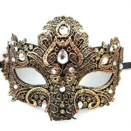 Copper Black Macrame Lace Crystal Rhinestone Venetian Masquerade Mask - Lace Masquerade Mask