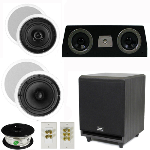 "Theater Solutions 5.1 Home Theater 4 Speakers Set with Center, 8"" Powered Sub and More TS5C6CC51SET3"