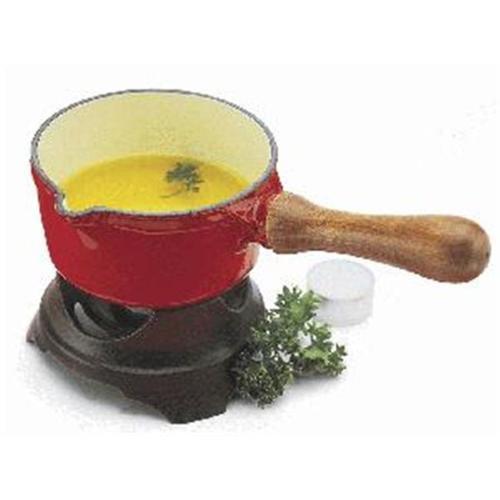 Paderno World Cuisine Chasseur Enamel Cast-Iron  Butter Warmer 1/2Qt. Red