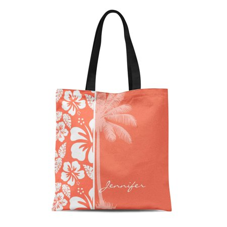 SIDONKU Canvas Tote Bag Modern Coral Color Tropical Hibiscus Summer Cute Pattern Cool Reusable Handbag Shoulder Grocery Shopping Bags - Coral Tote Bag