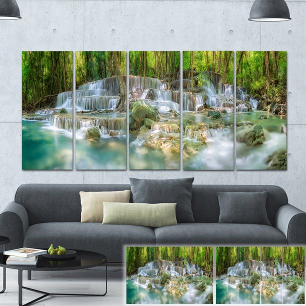 Design Art Designart Level 6 Of Huaimaekamin Waterfall Landscape Canvas Print Green Walmart Com Walmart Com