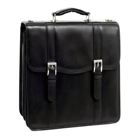 - McKlein FLOURNOY, Double Compartment Laptop Briefcase, Top Grain Cowhide Leather, Black (85955)