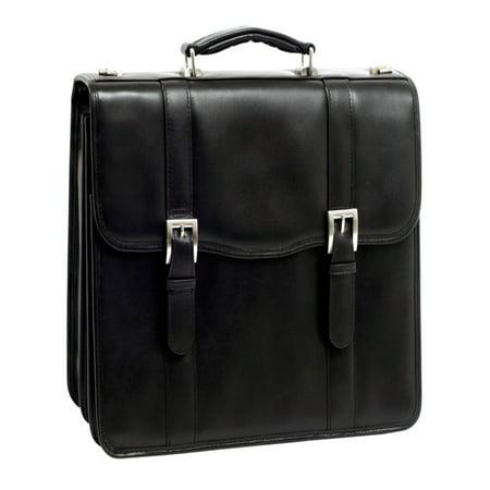 McKlein FLOURNOY, Double Compartment Laptop Briefcase, Top Grain Cowhide Leather, Black