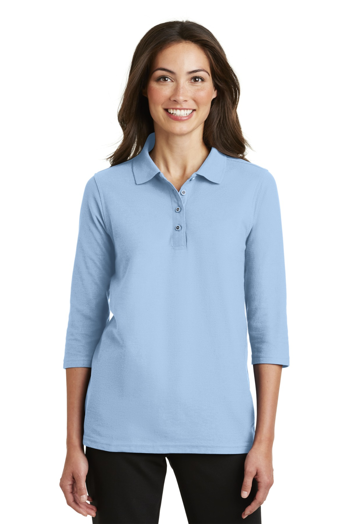 Port Authority® Ladies Silk Touch™ 3 4-Sleeve Polo. L562 Light Blue ... f8884b5aa11