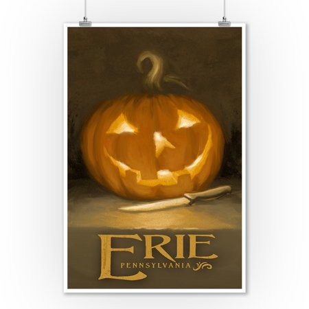 Erie, Pennsylvania - Jack-O-Lantern - Halloween Oil Painting - Lantern Press Artwork (9x12 Art Print, Wall Decor Travel Poster) - Halloween Oil Paintings