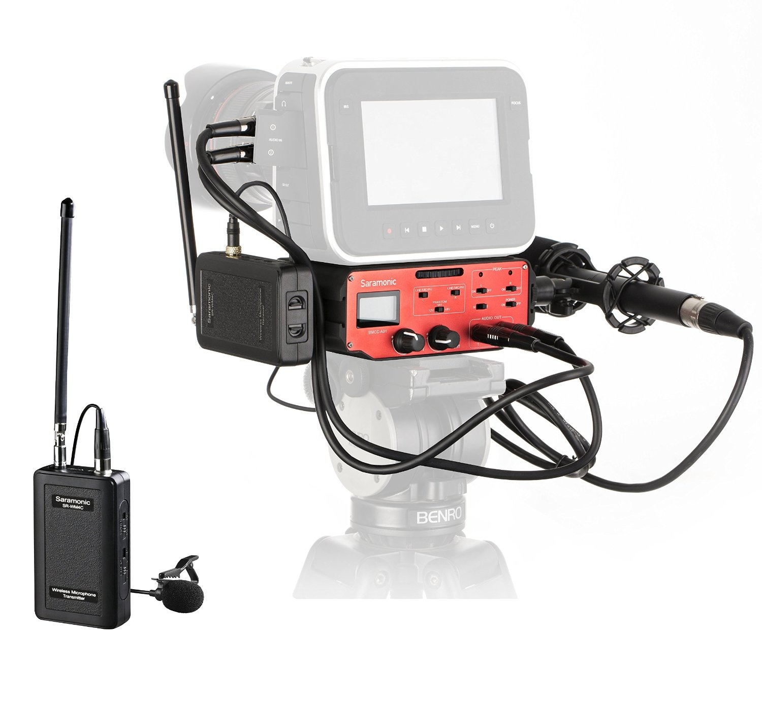 Saramonic BMCC Audio Kit: Shotgun Microphone, VHF Wireless Lavalier & 2-CH Mixer by Movo