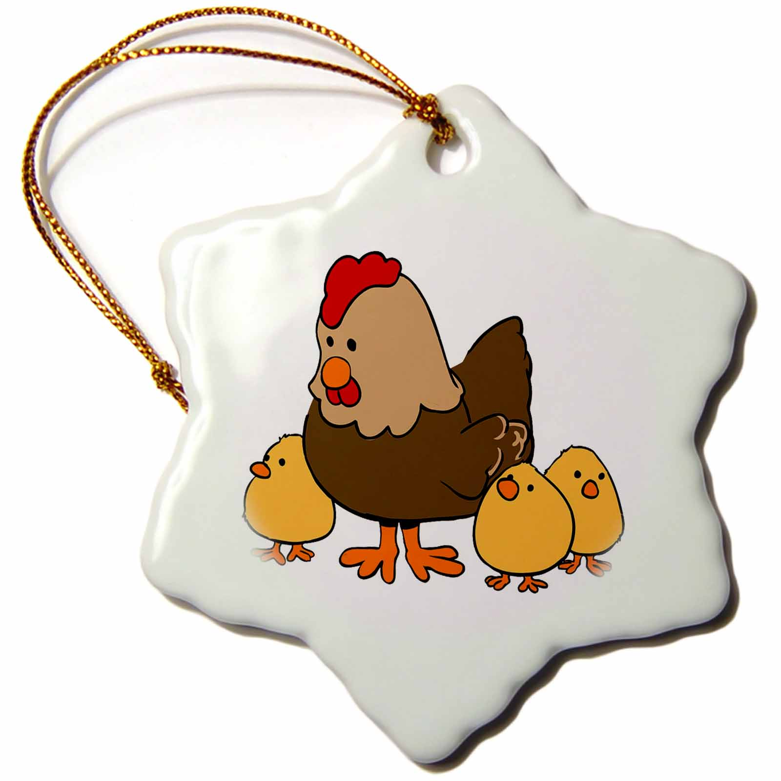 3dRose image of mama chicken with 3 baby chicks, Snowflake Ornament, Porcelain, 3-inch