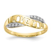 10k Yellow Gold Rhodium Cubic Zirconia I Love You Ring Size 6