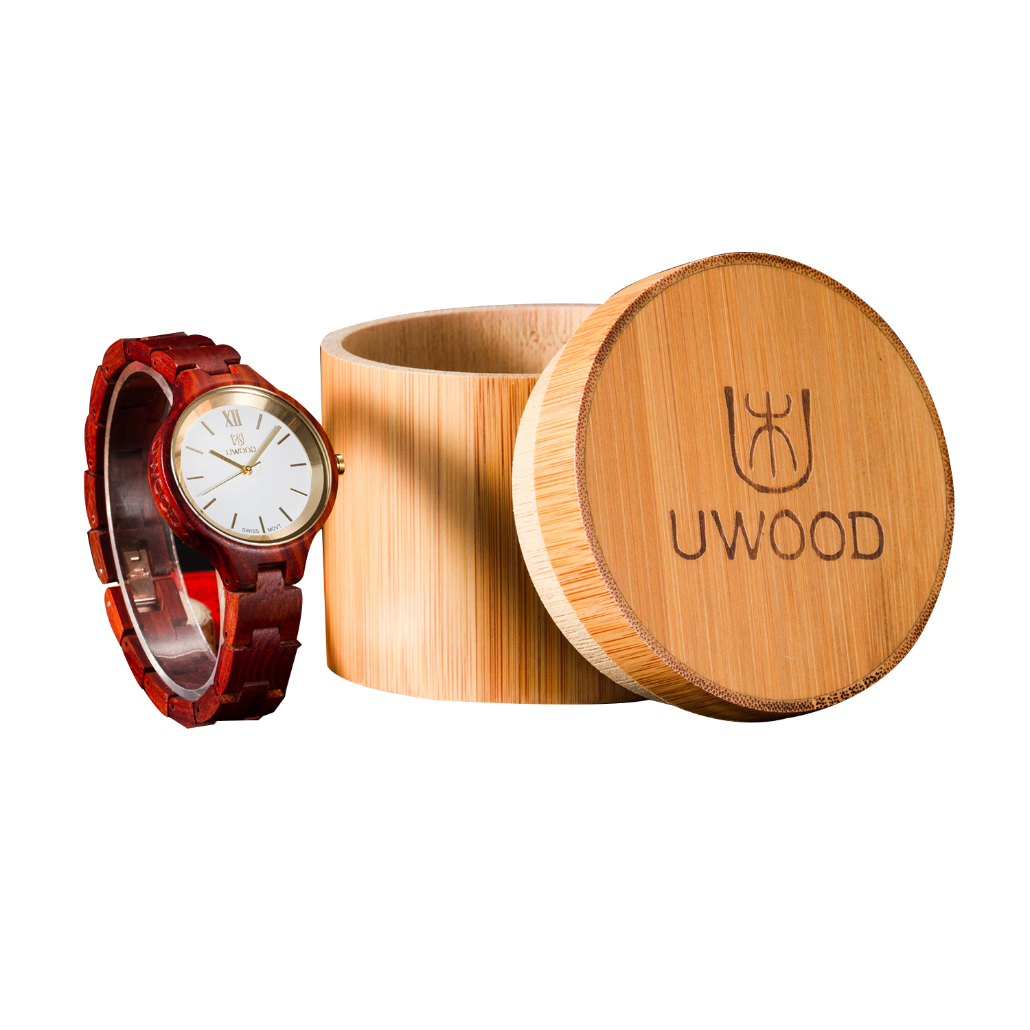 Classic Wooden Round Single Watch Holder Case Storage Box for Watch (Watch Not Included)