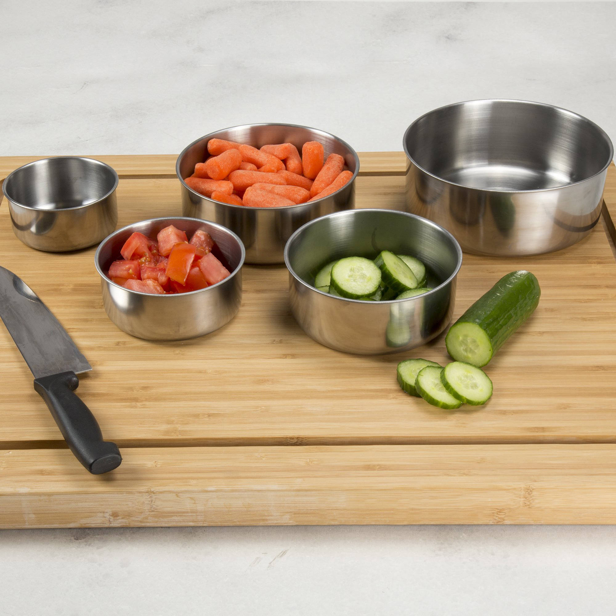 Chef Buddy 5-Piece Stainless Steel Bowl Set with Lids