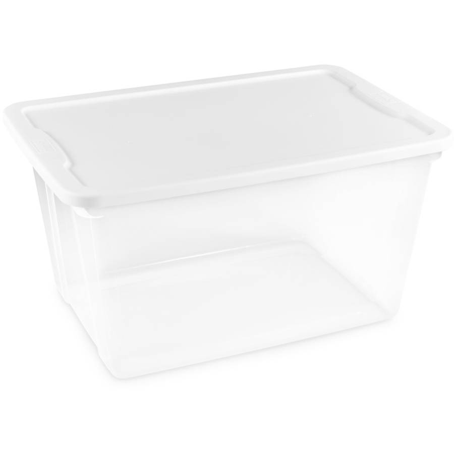 Homz 56 Quart Plastic Storage Container Clear with White Lid, Set of 8