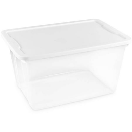 Homz 56 Quart Plastic Storage Container Clear with White Lid