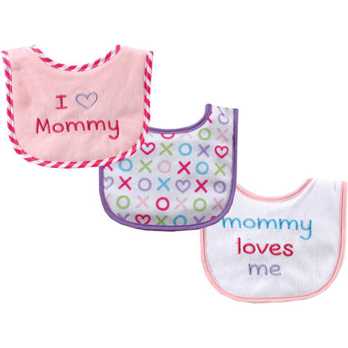 Luvable Friends I Love Drooler Bib , 3pk, Choose Your Color