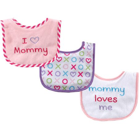 Luvable Friends Baby Boy and Girl Drooler Bibs, 3-Pack - Pink Mom