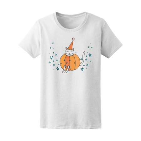 Halloween Pumpkin Cat Tee Women's -Image by (Women's Halloween Tee)