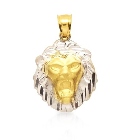 "10K Yellow & White Gold Diamond Cut Lion Head Charm Pendant 1"""