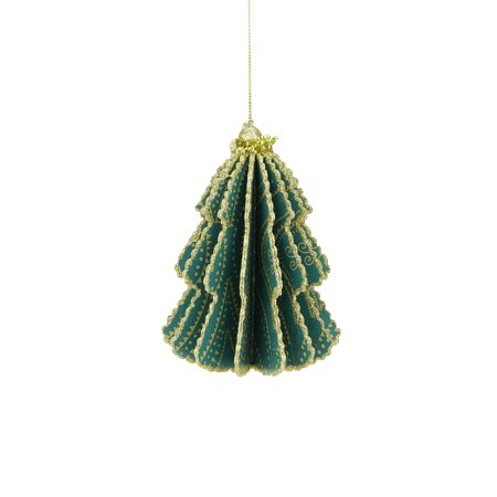 Bohemian Holiday Teal Green Triangular and Polka Dotted Strands Print Gold Glittered Sliced Tree Finial Ornament - Tree Slices For Sale