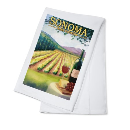 Sonoma County Wine Country - Lantern Press Artwork (100% Cotton Kitchen Towel)