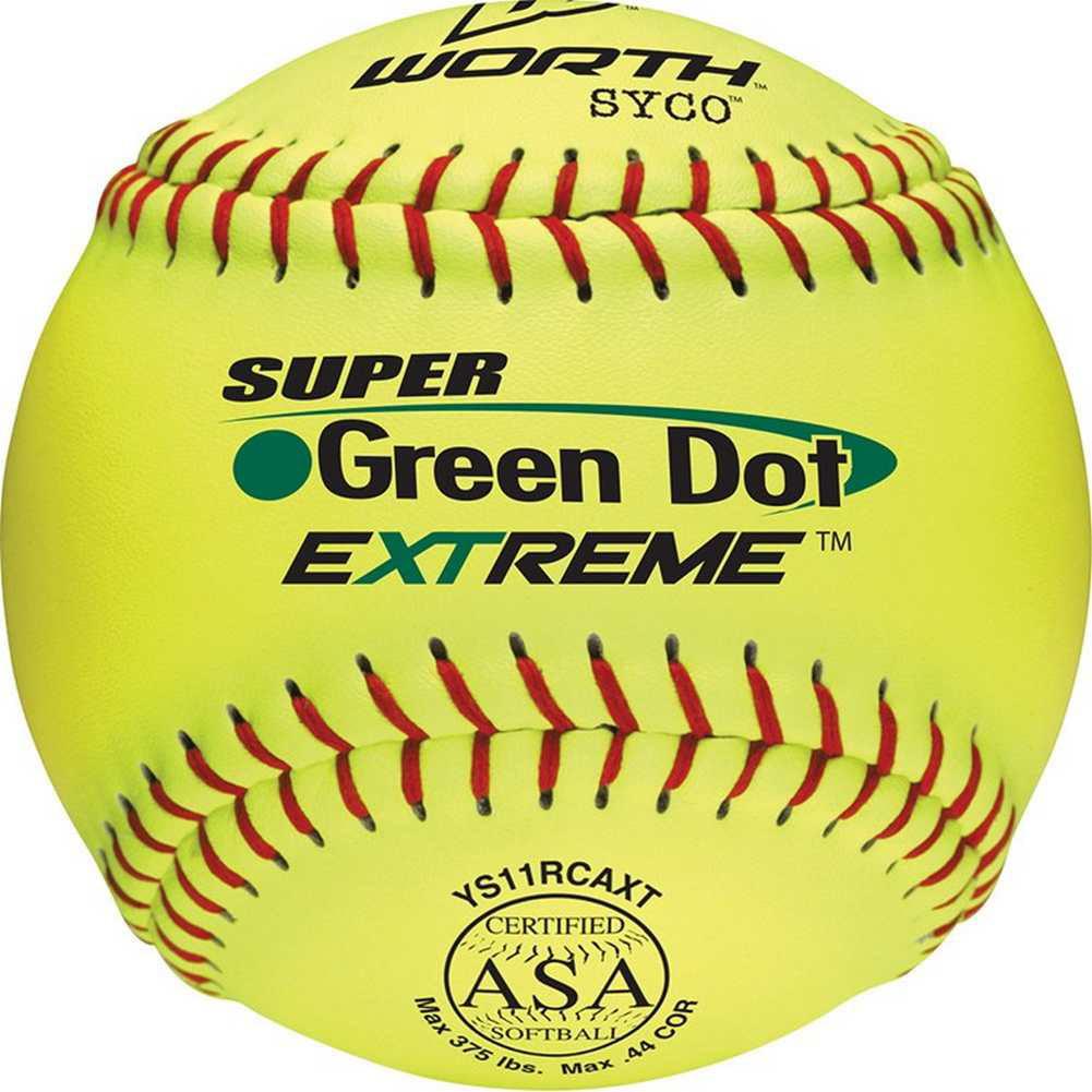 "Worth 11"" ASA Super Green Dot Slowpitch Softball 1 Dozen, YS11RCAXT by Worth"