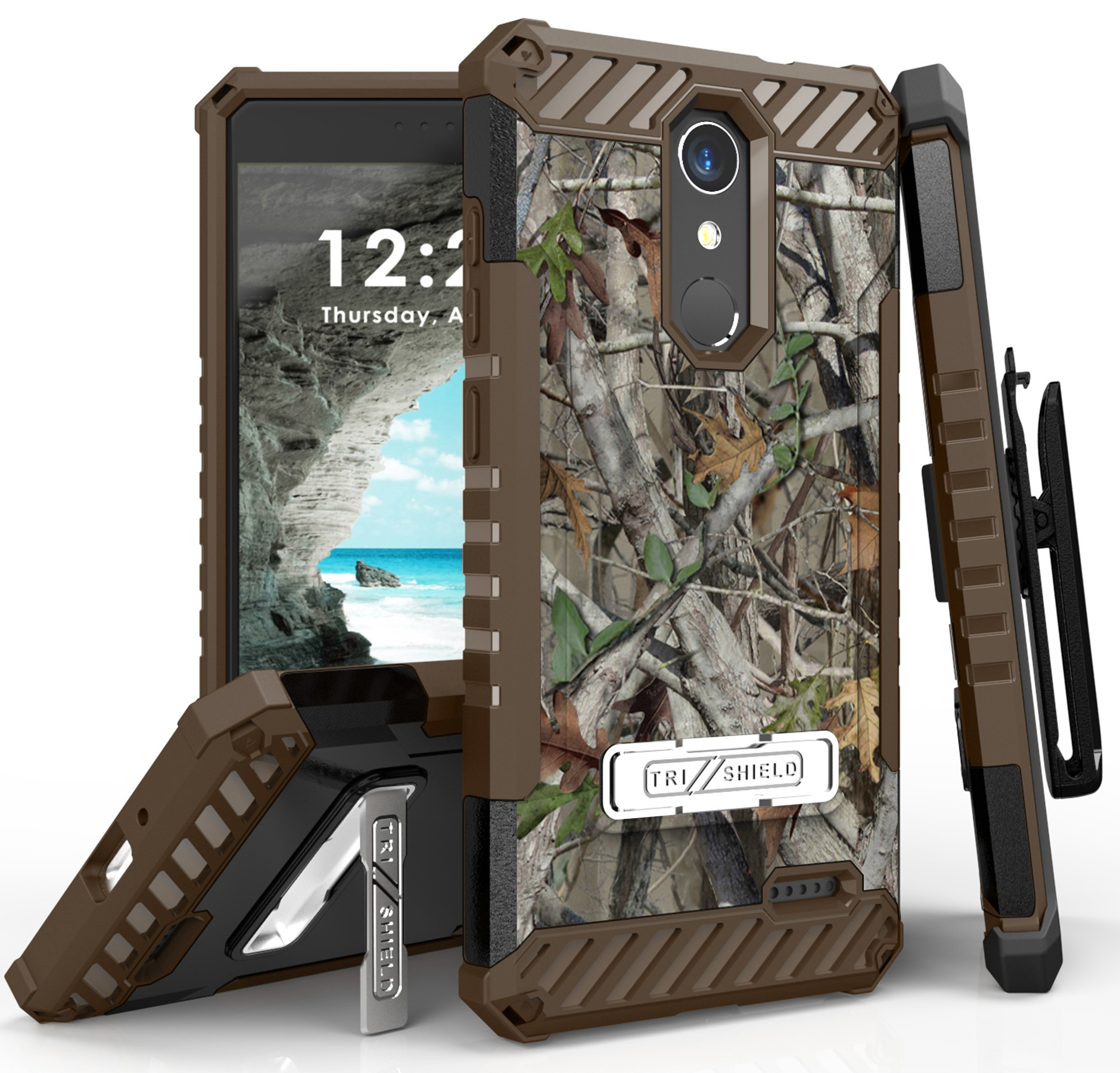 ZTE Grand X4 Case, AUTUMN CAMO LEAF TREE REAL WOODS TRI-SHIELD RUGGED COVER with MAGNETIC KICKSTAND + BELT CLIP HOLSTER + SCREEN PROTECTOR + LANYARD STRAP FOR ZTE GRAND X4 Z956, Blade Spark Z971