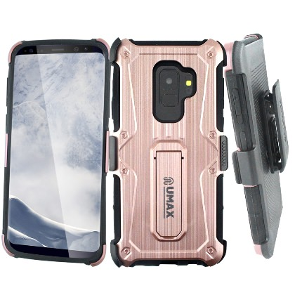 Mundaze Pink Ninja Belt Clip Kickstand Hybrid Case For Samsung Galaxy S9 PLUS Phone