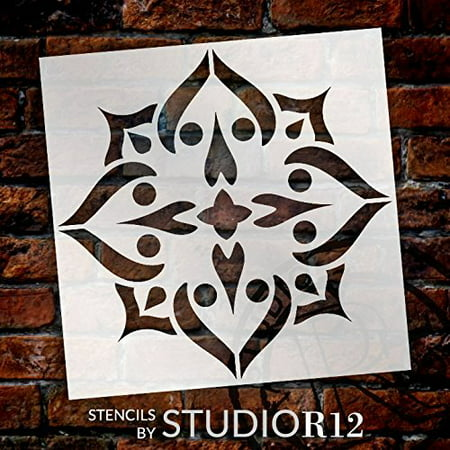 Mandala - Spades - Complete Stencil by StudioR12 | Reusable Mylar Template | Use to Paint Wood Signs - Pallets - Pillows - Wall Art - Floor Tile - Select Size (15