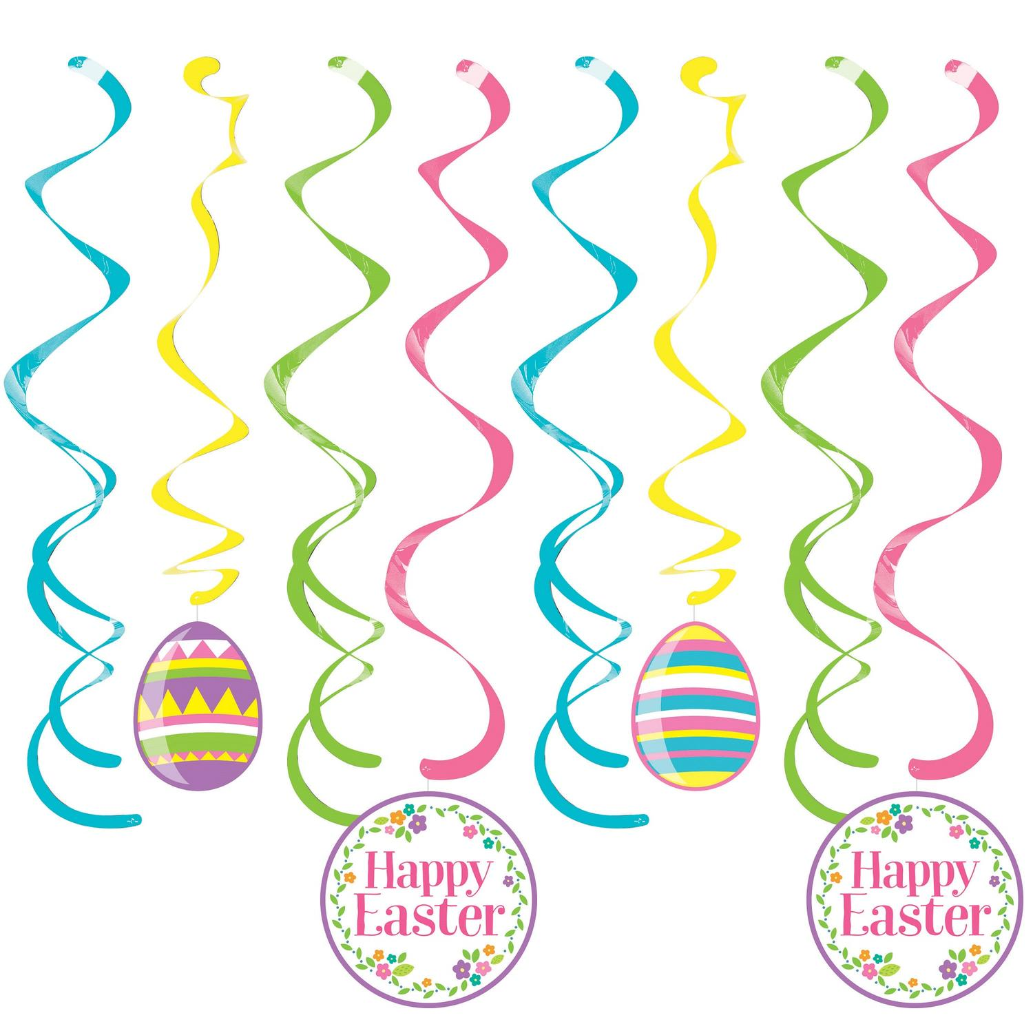 """Pack of 96 Pink and Blue Easter Decor Printed Hanging party Split Dizzy Danglers 10.25"""""""
