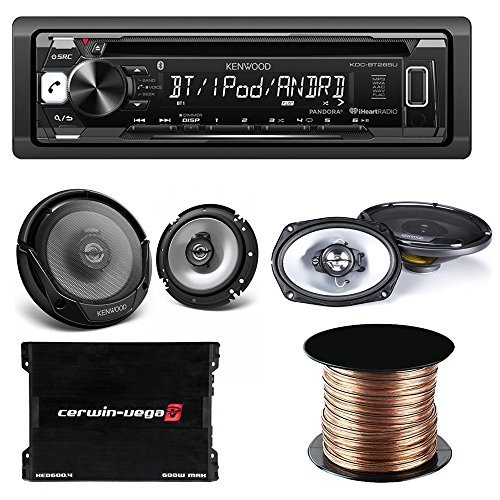 Kenwood KDC-BT265U Single DIN Bluetooth In-Dash CD/AM/FM Car Stereo + Kenwood Speakers KFC-1665S speakers and KFC-6965S speakers + Cerwin Vega XED600.4 600W 4-Channel Amplifier + Speaker Cable