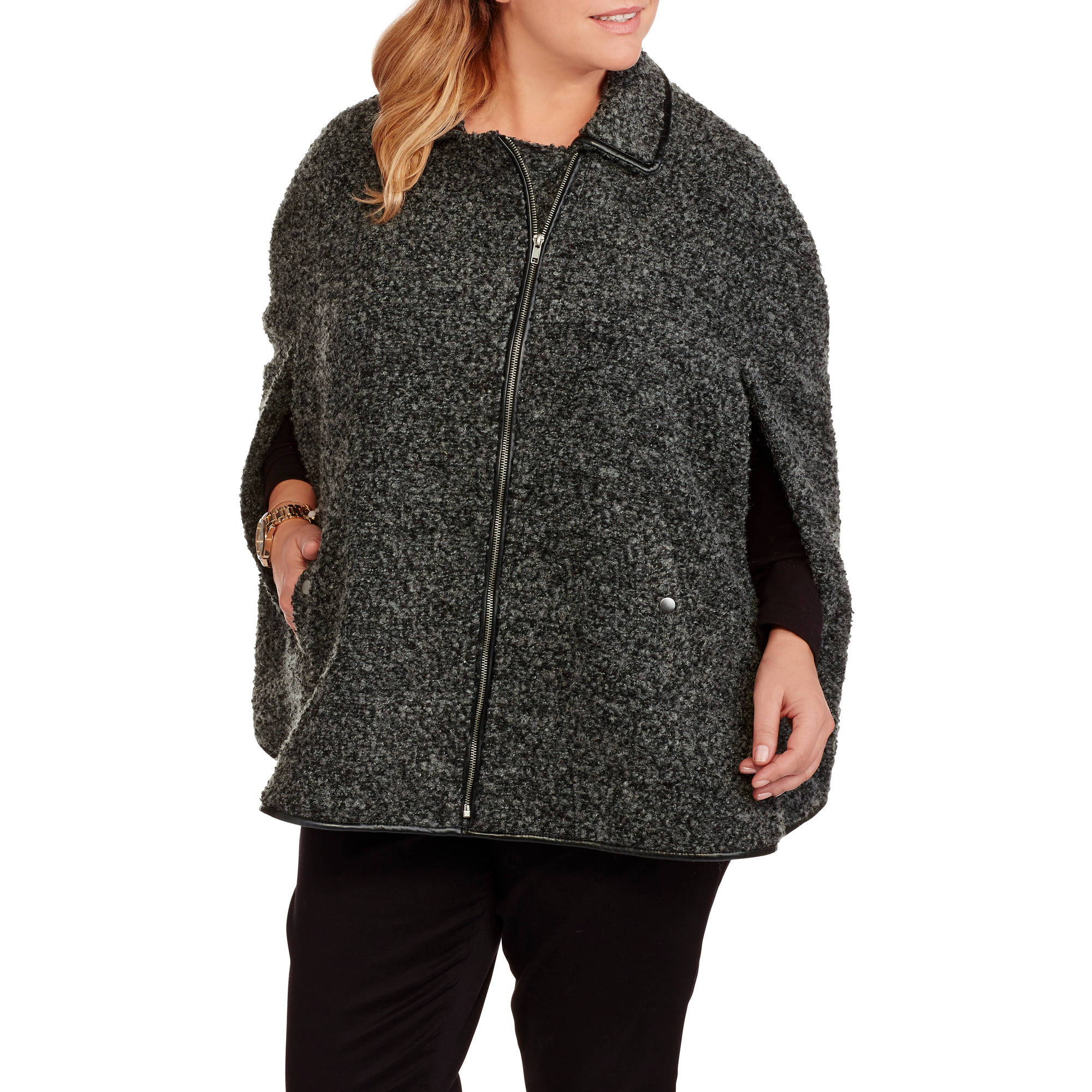 Maxwell Studio Women's Plus-Size Boucle Swing Cape