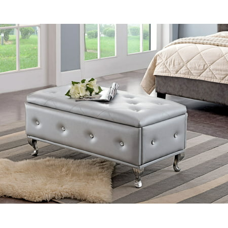 Jane Silver Upholstered Faux Leather Transitional Storage Ottoman Bench (Wood Frame, Crystal Buttons, Chrome Legs) ()