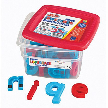 Jumbo 1 Lowercase Alphabet - Alphamagnets Jumbo Lowercase Color-Coded Magnetic Pieces, Set of 42