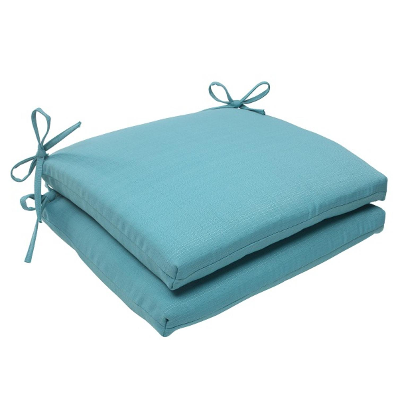 Set of 2 Aquatic Turquoise Outdoor Patio Squared Seat Cushions 18.5