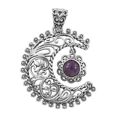 Moon Pendant 925 Sterling Silver Round Amethyst Boho Handmade Jewelry ()