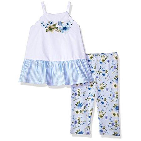 Mud Pie Baby Girls Floral Sleevless Ruffle Tunic & Legging 2 Pc Playwear Set, White 5T (Ruffled Pie)