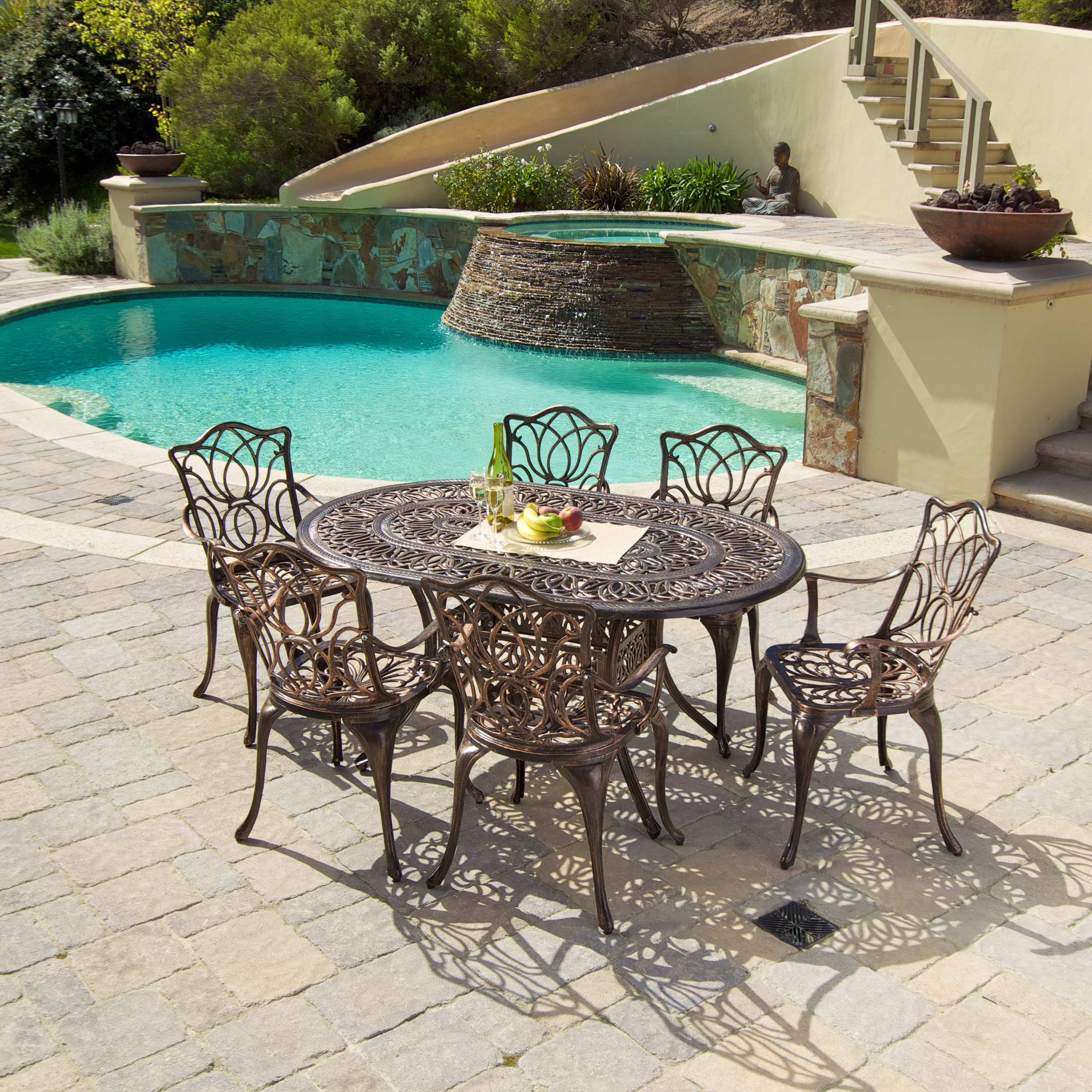 Eastfield Cast Aluminum Outdoor Dining Set (Set of 7)