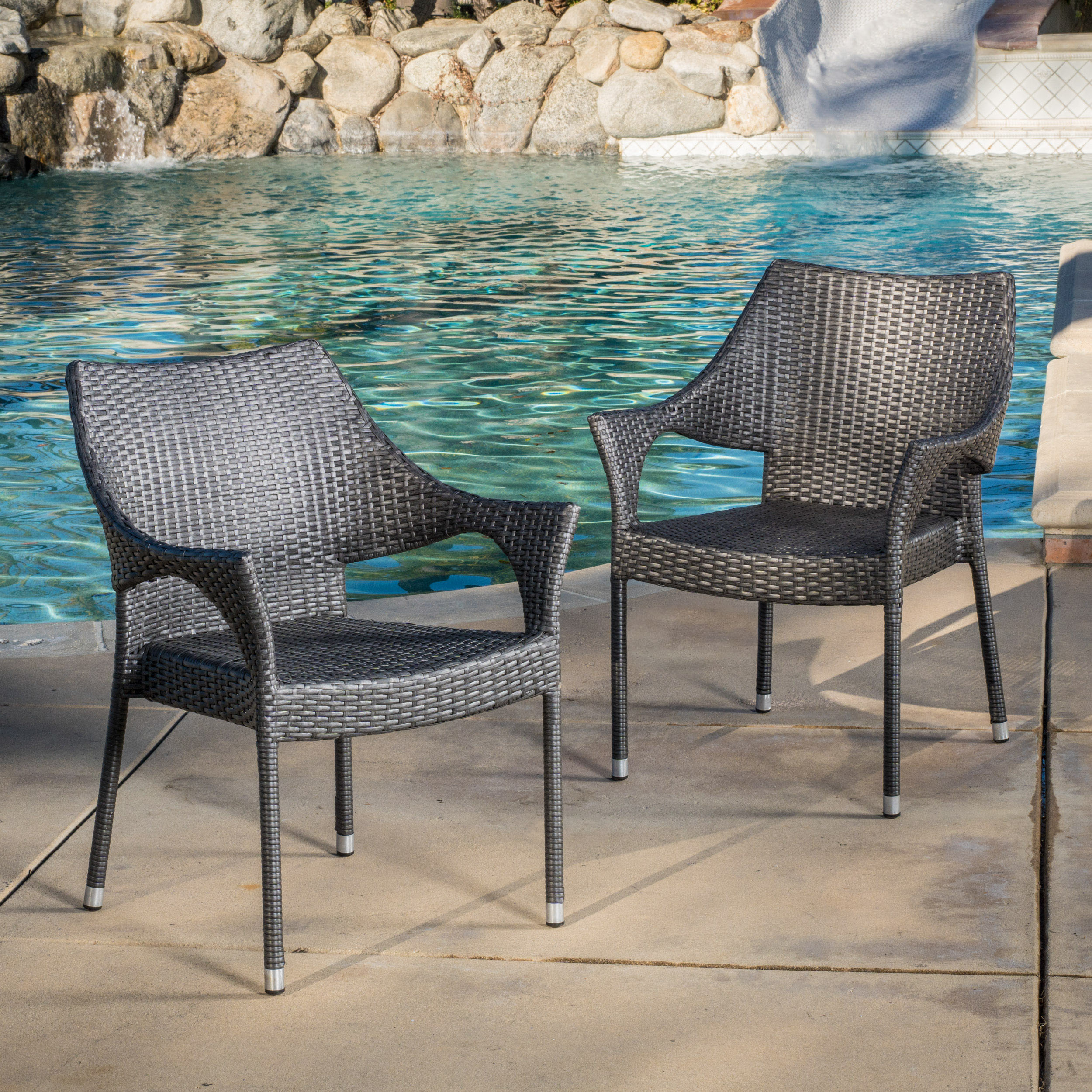 Marvelous Noble House Outdoor Grey Wicker Chairs (Set Of 2)
