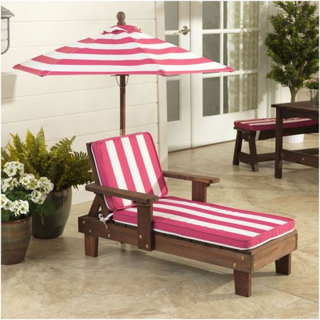 Kidkraft Outdoor Chaise Lounger Pink And White Walmart Com