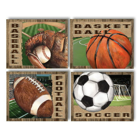 4 Popular American Sports Set Basketball Baseball Football and Soccer; Four 10X8 Poster Prints