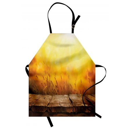 Fall Apron Empty Wooden Tabletop Layout Setting Sun Afternoon Wheat Agriculture Print, Unisex Kitchen Bib Apron with Adjustable Neck for Cooking Baking Gardening, Brown Orange Yellow, by
