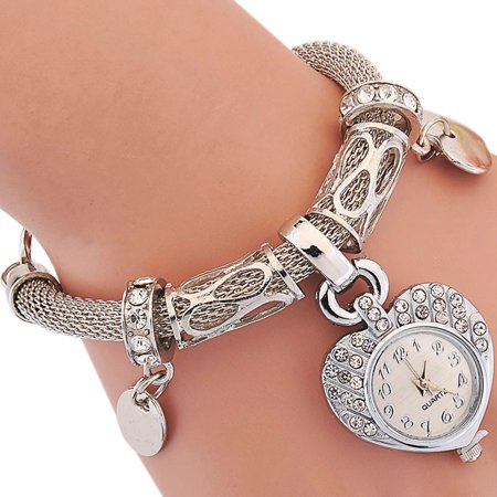Women Fashion Bracelet Watches Heart-Shaped Dial Clock Quartz Watches with Jewelry Clasp Silver