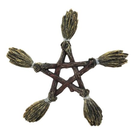 Ebros Witchcraft and Wiccan Broomsticks Pentagram Wall Decor Hanging Plaque Figurine Wicca Pentacle Sculpture Symbol of 5 Elements of The Universe As Halloween Prop or Gift Ideas for Occultism Pagan](Classy Halloween Wedding Ideas)
