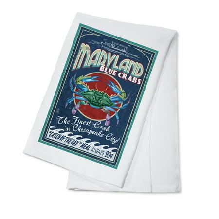 Chesapeake City, Maryland - Blue Crab Vintage Sign - Lantern Press Artwork (100% Cotton Kitchen Towel)