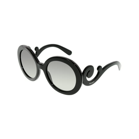 Prada Women's Gradient PR27NS-1AB3M1-55 Black Round Sunglasses Black Headset Sunglasses
