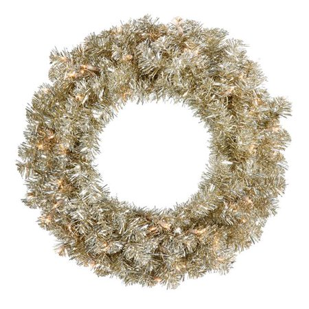 Vickerman B982531LED Champagne Mini Dura-Lit Wreath with Warm White LED Lights, 30 in. - image 1 de 1
