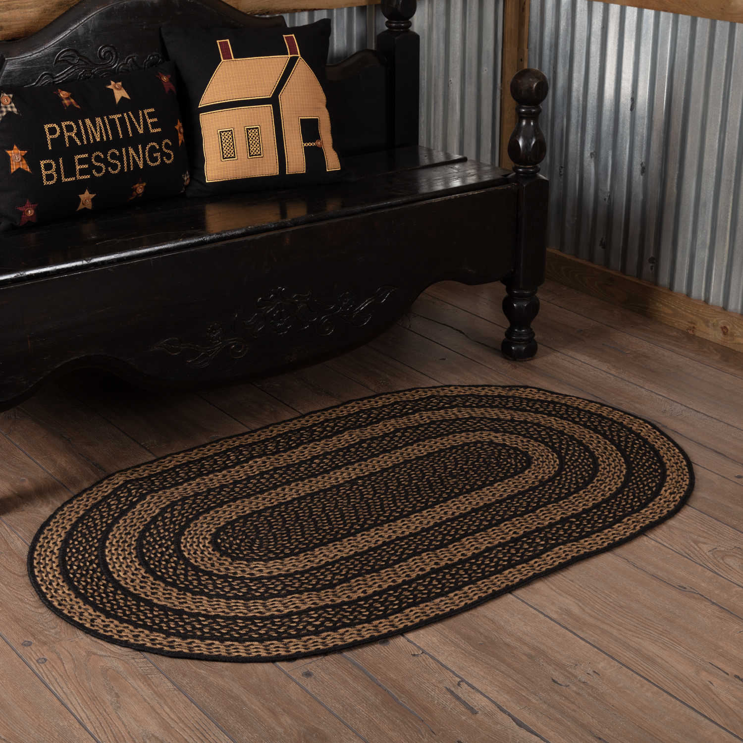 Country Black Primitive Flooring Black Stencil Star Jute Oval Accent Rug