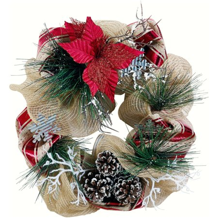 Holiday Time 20-Inch Mesh Wreath, Pinecone, Durable Construction - Patriotic Door Wreaths